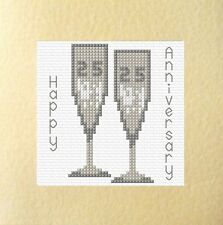 "25th Silver Glasses Wedding Anniversary Card Cross Stitch Kit 5.5""x5.5"" 14 Count"