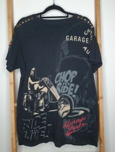 Christian Audigier garage parts Chop To Ride Studded Leather Embroidered USA SzM