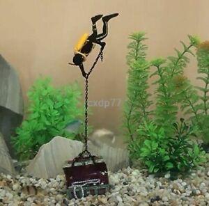 Frogman Treasure Diver Decor Action Air Aquarium Ornament Fish Tank Decoration