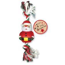 Christmas Dog Chew Toy Rubber Santa Rope Tug Throw Fetch Gift Training