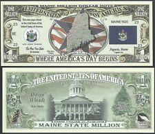 Lot of 25 Bills- Maine State Million Dollar Bill w Map, Seal, Flag, Capitol