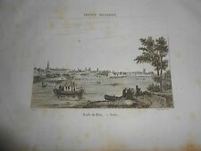 1836 ORIGINAL ANCIENT STEEL ENGRAVING VIEW OF BONN GERMANY ON THE RHINE RIVER