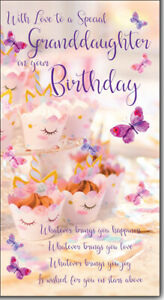 With Love to a Special Granddaughter Birthday Card Lovely Verse cup cake