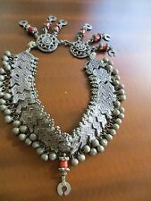 Old Antique EthnicTribal Rajasthan Indian Bells SilverNecklace /red glass beads