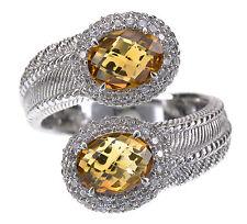 Judith Ripka Sterling Silver Citrine gemstone Bypass Ring size 7