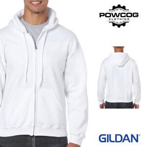 GENUINE GILDAN HEAVY PLAIN Zipped Hooded Fleece Hoodie Sweatshirt  18 COLOURS