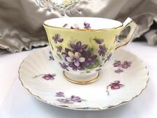 Vintage Tea Cup Saucer Aynsley Violet Yellow Porcelain Bone China England