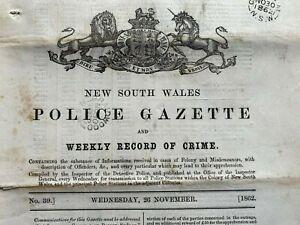 1862 26 Nov New South Wales POLICE GAZETTE rewards, prisoners, RARE free EXPRESS