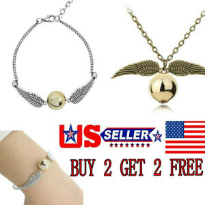 2X Harry Potter Golden Snitch Angel Pearl Necklace Pendant Bracelet Chain Gift