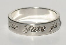 Antique Finish Sterling Silver Message Ring Size 7