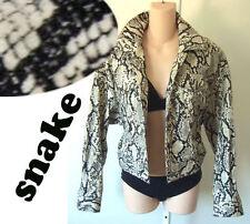 print MOD Ungaro SNAKE python jacket 8 42 med vegan jean leopard punk crop short