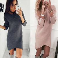 Womens Ladies Knitted Sweater Jumper Mini Dress Knitwear Winter Long Sleeve Tops
