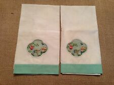 Matched pair of vintage hand towels with Asia themed hand sewn inserts