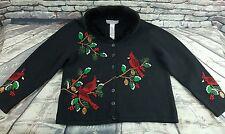 Tiara International RED CARDINAL Embellished Ugly Christmas Sweater Women's Sz L