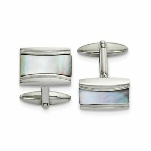 Chisel Stainless Steel Polished Rectangle Mother of Pearl Cufflinks MSRP$142