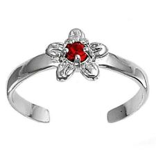 Ruby Cz Rhodium Plated Face Height 7mm Flower Toe Ring Solid Sterling Silver 925