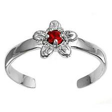 Flower Toe Ring Solid Sterling Silver 925 Ruby Cz Rhodium Plated Face Height 7mm