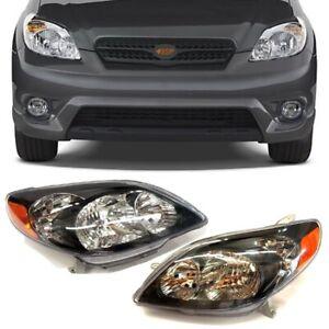 Fits 2003-2008 For Toyota Matrix Black Housing Headlight Headlamp Clear Lens Set