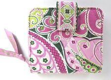 Vera Bradley PINWHEEL Pink Green Paisley Print Quilted Mini Zip Bi-fold Wallet