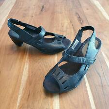 Merrell Evera Chase Black Leather Slingback Sandal Heels Women's 9