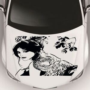 1PC Car Side Body Hood Decals Sticker Flower Car Decal Stickers Japan Girl Black