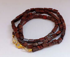 7-8 MM Natural Red Tiger Eye Smooth Cube Beads Gold Fish Lock Necklace Jewelry