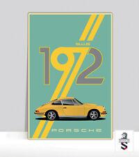 """Vintage 1972 Porsche 911s. Poster Aluminum 36 """"x 24"""""""