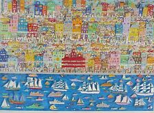 "James Rizzi ""On the Waterfront"" Hand Signed 3-D Large 1987 Serigraph Pop Art"