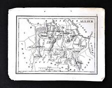 1833 Perrot Tardieu Miniature Map - Allier Province Palisse Vichy Moulins France
