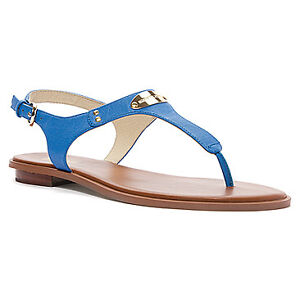 Michael Kors Sandals MK Plate Thong Heritage Blue Leather Size 7 Agsbeagle