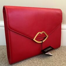 Lulu Guinness Red Leather Cut out Lips Medium Leila Clutch Retail