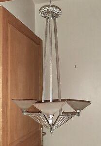 Antique French Art Deco chandelier, superb geometric shape, low ceiling OK