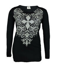 8128ea75a44e Vocal Women Plus Size Tunic Shirt L/S Tribal Crystal Cross Round Neck in  Black