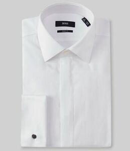 HUGO BOSS MYRON US BLACK LABEL DRESS SHIRT SHARP FIT FRENCH CUFF WHITE -NWT