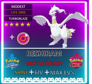 Pokemon Sword & Shield Shiny 6IV Reshiram! MAX EVs 6IV! BRAND NEW! Lunala Mewtwo