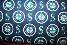 60 INCH WIDE SEATTLE MARINERS  MLB 1/2 YARD 18X60 -  100% COTTON FABRIC