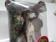 DOG Boxer PUPPY*Santa Hat*Hanging ORNAMENT*Collectible*PUP Figure*FREE SHIPPING*