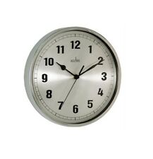 Wall Ruden Clock - Chrome Silver Spun Dial and Domed Glass 21cm - Office
