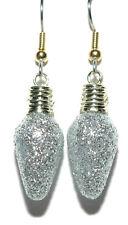 SILVER & GOLD GLITTERY CHRISTMAS LIGHT DANGLE EARRINGS (H202)