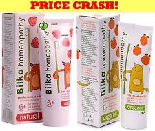 Bilka Homeopathy Kids Toothpaste 2y+ or 6y+ ORGANIC Tangerine & Raspberry 50ml