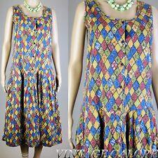 Vintage 60s MOD Multi Color geometric print Swing Jackie O stewardess dress Sz L