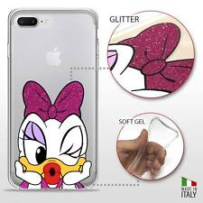 IPHONE 7 PLUS TPU COVER PROTETTIVA GEL TRASPARENTE GLITTER DISNEY PAPERINA