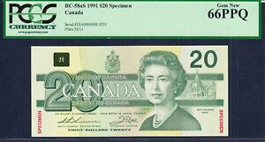 Canada 20 Dollars SPECIMEN 1991 BC-58aS GEM UNC PCGS 66 PPQ