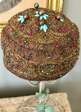 Vintage East Indian Influenced 1960's Hat W/ Gold Metallic Embroidery Bead Work