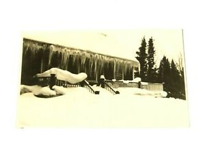 RP Postcard Snow Covered Cabin with Huge Icicles