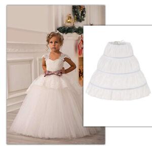 White Children Petticoat A-Line 3 Hoops Lace Trim Flower  Crinoline One Layer