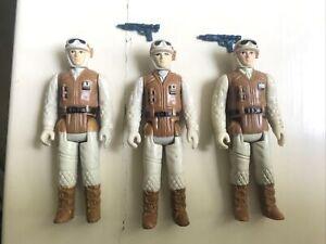 Three 1980 Star Wars Rebel Snow Soldier 3 3/4 Inch Action Figures