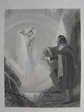 c1850 ANTIQUE PRINT ~ THE WITCH OF THE ALPS SPIRIT WITH THY HAIR OF LIGHT