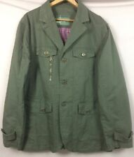 JEEP RICH__Mens L Driving Jacket__Olive Green Cotton/Brass Buttons__SHIPS FREE