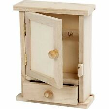 Mini Key Cabinet Box - Plain Wood - Paint Decorate Personalise Home Small Chest